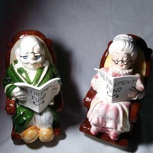 Lefton Ceramic Grandma & Grandpa Retirement Banks